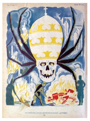 'THE TRUE FACE OF THE CATHOLIC CHURCH' Books on the fire: Marx, Lenin, Darwin Godless magazine, Issue 6, 1934