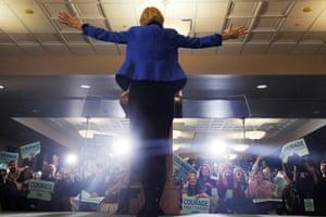 Elizabeth Warren at her Iowa caucus rally in Des Moines.