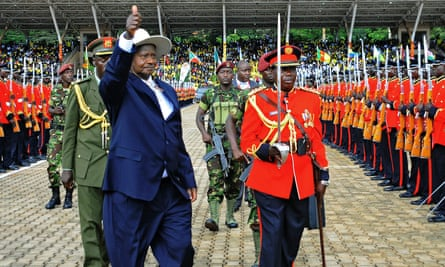 Yoweri Museveni gestures during his inauguration in Kampala