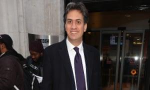 Ed Miliband at BBC radio studio in London on Tuesday