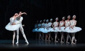 Irina Kolesnikova, Denis Rodkin and the St Petersburg Ballet Theatre corps in Swan Lake.