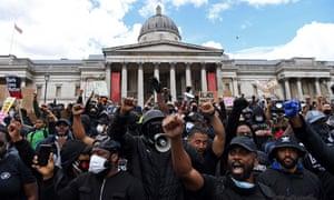 Black Lives Matter protesters in Trafalgar Square in London on 13 June 2020.