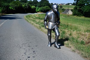 Carnoët, France. Artist and performer Abraham Poincheval wears a suit of armour as he walks through western France. He plans to walk 170km (106 miles) across Brittany dressed in the armour
