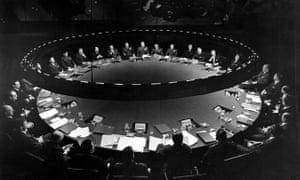 Ken Adam's war room set for Stanley Kubrick's film Dr Strangelove