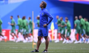 Herve Renard attends a training session at Saint Petersburg Stadium ahead of Morocco's World Cup opener against Iran