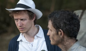 Director Laszlo Nemes, left, on the set of Son of Saul with actor Geza Rohrig.