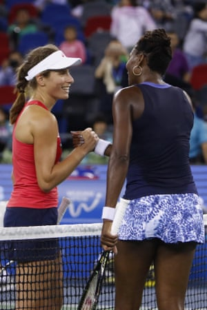 Johanna Konta shakes hands with Venus Williams after her 6-4 3-6 7-5 defeat to the former world number one in the quarter-finals of the Wuhan Open in October 2015.