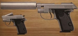 A deactivated Beretta Tomcat used by Pierce Brosnan in Die Another Day.