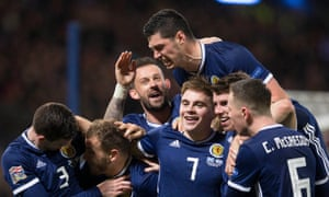 Scotland's James Forrest celebrates his hat-trick in the Nations League decider against Israel