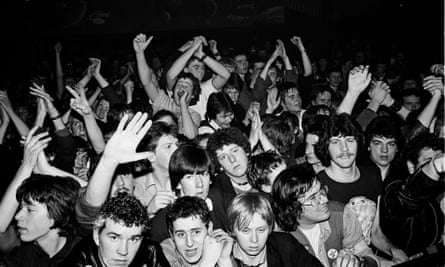 Fans watch Gang Of Four perform at the Rock Against Racism Red Rhino tour, Cromer, 20 March 1979.