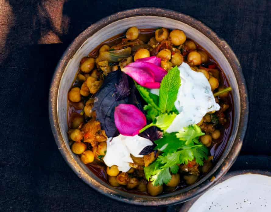 Looking chic: spiced aubergine with chickpeas.
