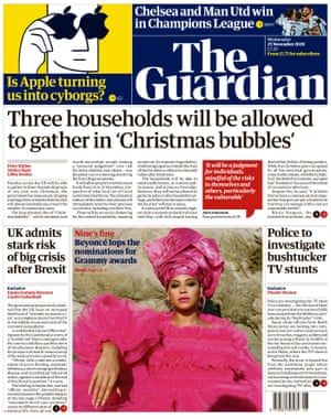 Guardian front page, Wednesday 25 November 2020