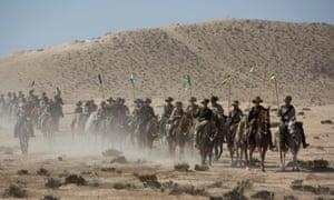 Australian riders in first world war uniform ride in the Negev Desert near Beersheba, Israel, 29 October 2017 during a reenactment horse ride towards Beersheba.