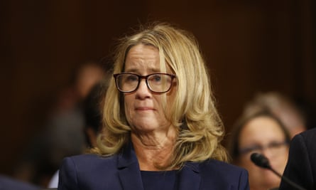 Christine Blasey Ford at the Senate judiciary committee hearing, where Republicans could not hide the dire spectacle of 11 white men sitting in judgment.