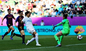Dzsenifer Marozsán scores the opening goal of May's Women's Champions League final – her Lyon side went on to beat Barcelona 4-1.