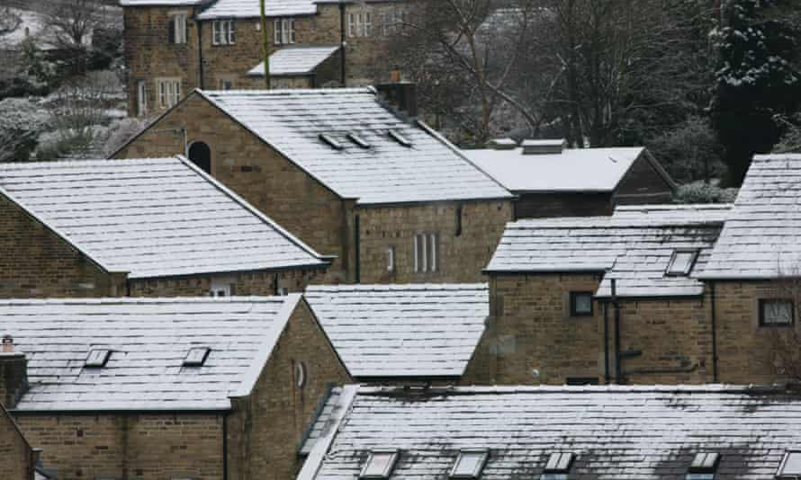 snow on rooftops