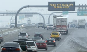 A poor air quality sign is posted over a highway in Salt Lake City, one of the locations of the study, in 2013.