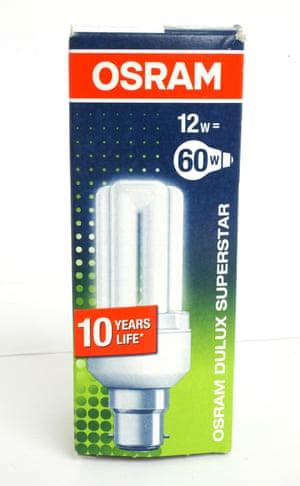 Energy saving light bulb from Osram. Lightbulb box