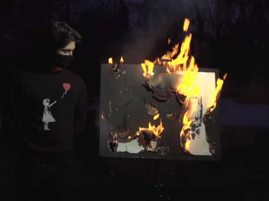 Banksy work is burned