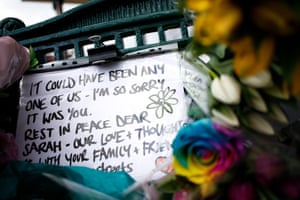 A message of condolence is clipped to the bandstand on Clapham Common.