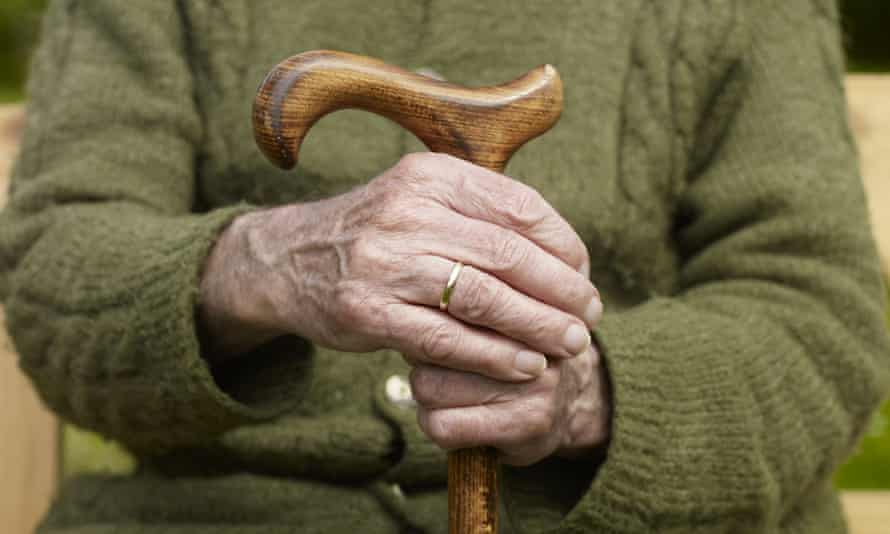 'He'll never rise again but he is ready' ... a seated old man holding a walking stick.