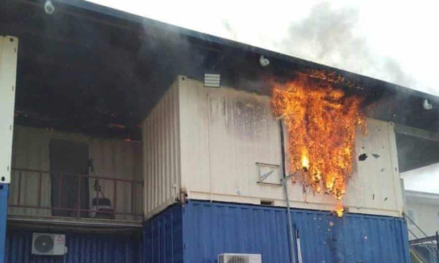 Manus Island refugee accommodation, Hillside Haus, where a 30-year-old man set himself and his room on fire last Friday.