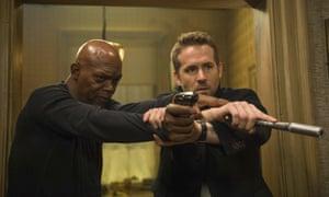 Samuel L Jackson and Ryan Reynolds in The Hitman's Bodyguard.