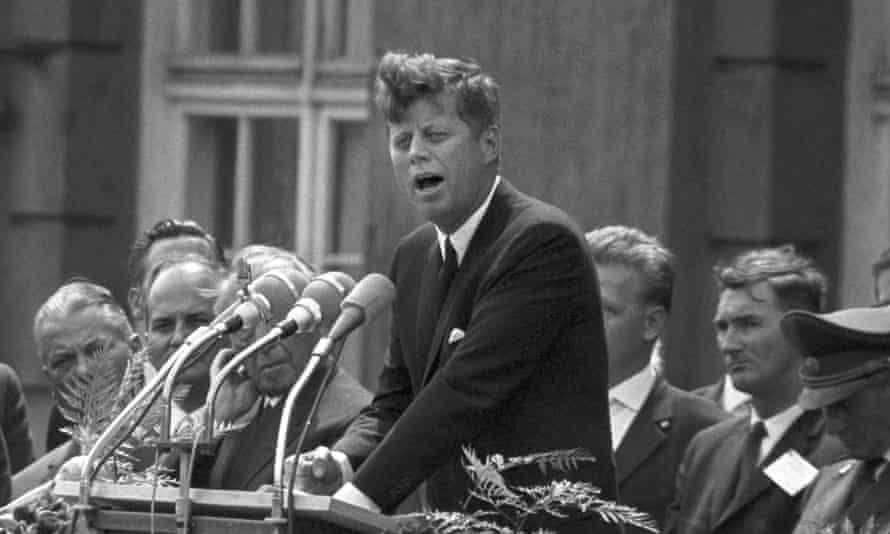 US president John F Kennedy gives his historic speech in Berlin on 26 June 1963.