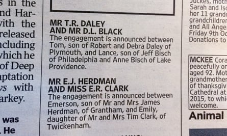 The engagement announcement of Tom Daley and Lance Black.