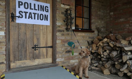 A dog waits outside a polling station in a guest house annex in Dogmersfield, Hampshire