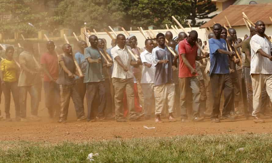 Special police election constables undergo training at Kasangati, near Kampala