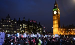 Anti-Trump protesters on Parliament Square tonight.