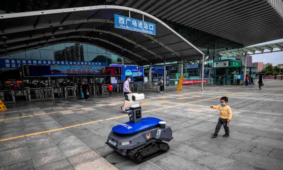 A police robot enforcing coronavirus rules in Shenzhen, China in March 2020.