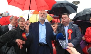 Jeremy Corbyn celebrates the election result for Trafford council, May 2019