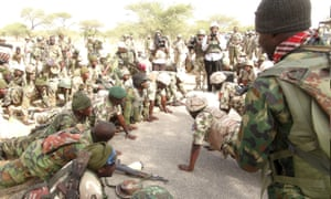 Nigerian army soldiers deployed to take part in the battle against Boko Haram in Damask, Borno State, Nigeria.