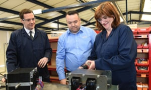 Education secretary Nicky Morgan and chancellor George Osborne with EPS production manager Stephen Waldron on the campaign trail in Loughborough.