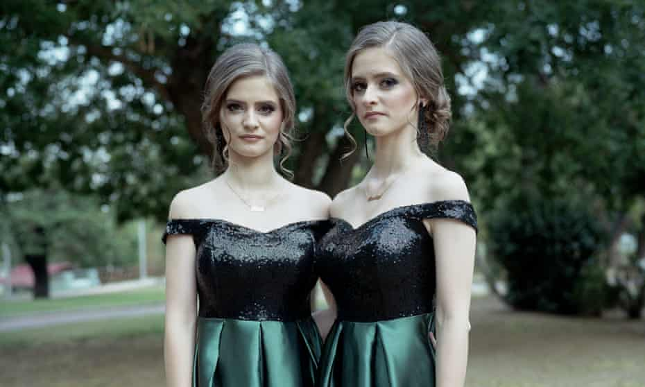 Identical twins Arzou and Hamdie attend a wedding in the Pomak village of Echinos, Greece.