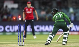 Muneeba Ali Siddiqui of Pakistan is bowled by England's Anya Shrubsole.