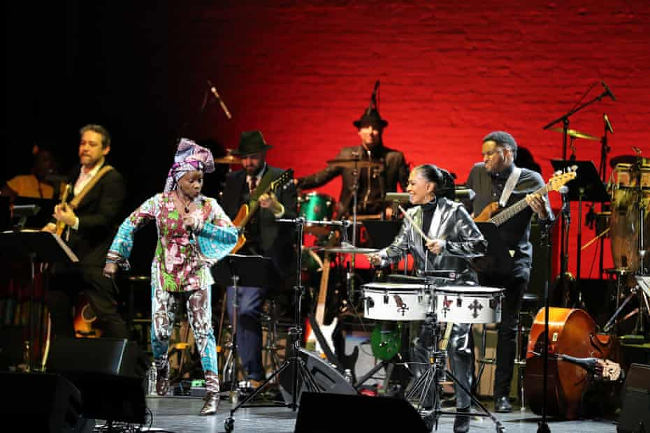 Kidjo and Sheila E on stage at the Apollo theatre in New York in March 2020.