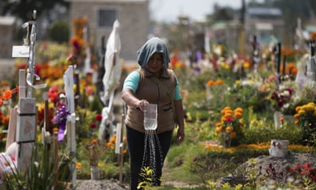 A woman waters her father's grave at the Valle de Chalco municipal cemetery on the outskirts of Mexico City on Thursday.