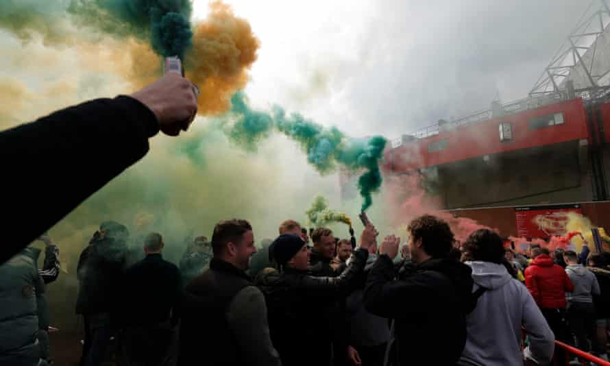 Protests were held at Old Trafford following the collapse of the European Super League