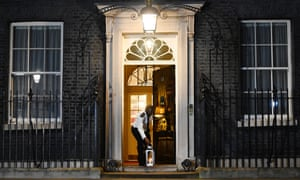 A lantern is lit at Downing Street.