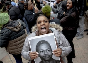 Brittani Smith chants protests against the execution of Rodney Reed in Texas, US