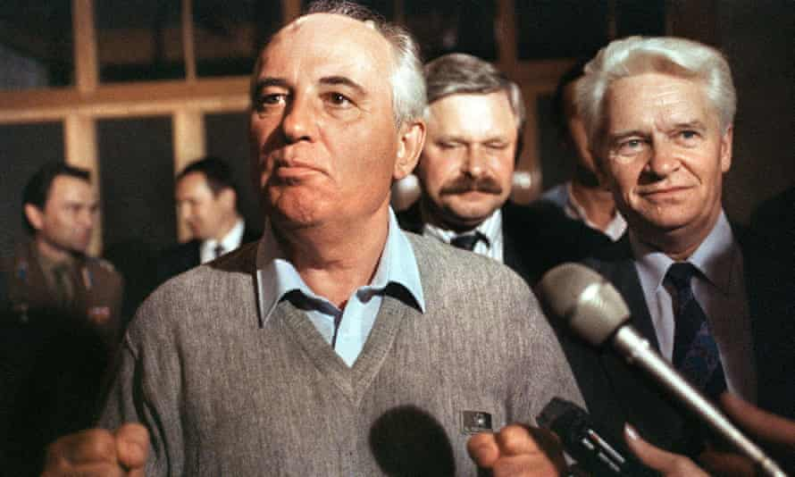 The Soviet president, Mikhail Gorbachev, making his first appearance after the attempted coup in August 1991.