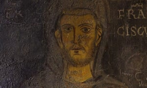 The earliest known portrait of Saint Francis (detail), from a fresco at Sacro Speco, Subiaco, 13th century.