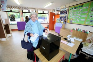 A voter at a polling station in Knock, north-west Ireland
