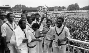 Clive Lloyd holds the trophy aloft after West Indies defeated England in the 1979 World Cup final at Lord's.