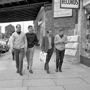England's Ron Springett, Peter Bonetti, Nobby Stiles and Alan Ball go shopping in Golders Green the day after England earned their place in the World Cup final with victory over Portugal