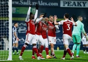 Alexandre Lacazette of Arsenal celebrates making it 4-0.