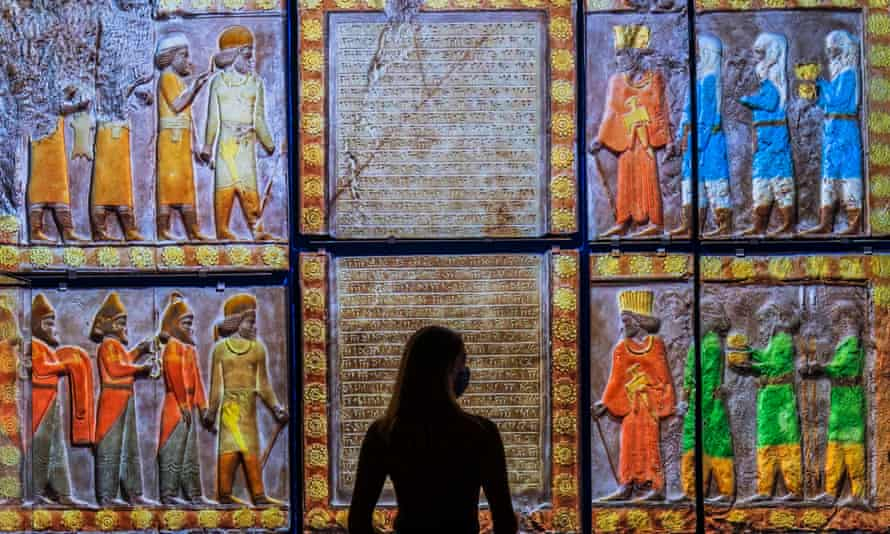 A projection of the Tribute to Ahuramazda at the V&A's Epic Iran exhibition.